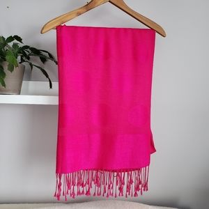 Accessories - Vibrant Pink Scarf with Fringe